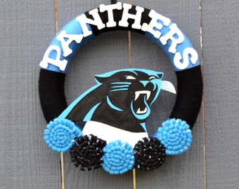 Carolina Panthers Wreath // NFL Football // Yarn Wreath // Charlotte, North Carolina // Gift For Fan // Super Bowl Party // Home Decor