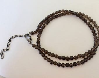 Smoky Quartz Gemstone Handmade Beaded Necklace Single Strand 18 inch Plus 4mm Smooth Brown Gray Beads Jewelry Affordable Accessories Women