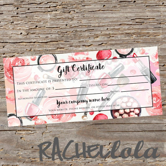 Custom red makeup printable gift certificate template for Avon gift certificates templates free