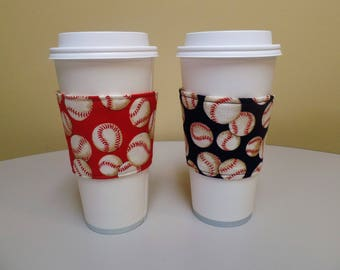 Red Navy Baseballs Fabric Coffee Cozy,Coffee Sleeve,Custom Coffee Cup Sleeve,Coffee Holder,fabric coffee holder, iced coffee cozy