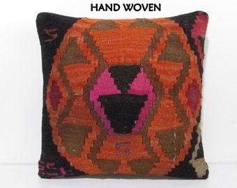 20x20 kilim pillow 20x20 large pillow kilim giant throw pillow handloom pillow case 20 hand woven pillow orange pillow case orange rug B2502