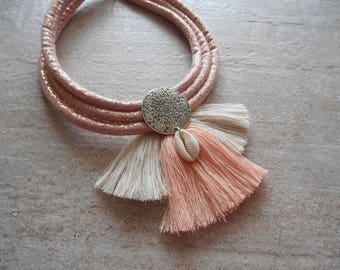 necklace tassels pink, bohemian style