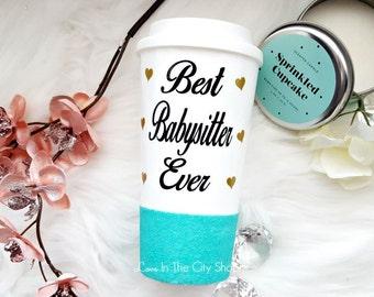 Babysitter Gift, Babysitter Mug, Best Babysitter, Gifts for Babysitter, Baby Sitter Mug, Glitter Mug, Nanny Mug, Personalized Coffee Mug