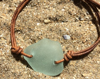 Welsh Gower sea glass leather bracelet/beach glass/recycled/adjustable nautical bracelet