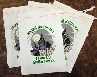 Halloween Candy Bag - Kids Halloween Party / 5x7 Muslin Bag Custom / Candy Giveaway Bags / Happy Halloween Goodie Bag / Haunted House Bag