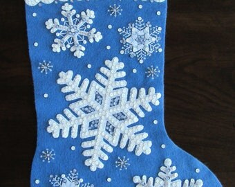 "Bucilla Glittering Snowflakes 18"" -  Completed"