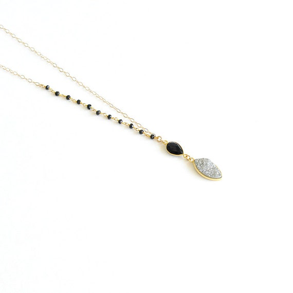 Druzy Pendant Necklace with black onyx, black onyx rosary and 14K Gold filled non tarnish chain
