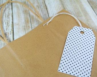 Black and White Polka Dot Gift Tags | String Optional