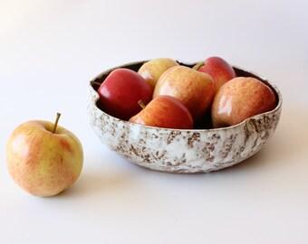 Vintage Studio Pottery Bowl Hand Thrown Ceramic Fruit Bowl Brown Bohemian Bowl