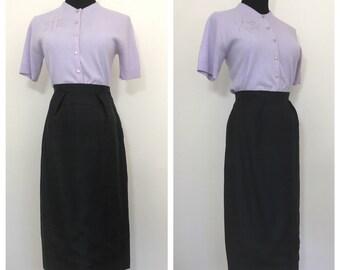 FLASH SALE Vintage 1950's Black Pencil Skirt by Nelly De Grab
