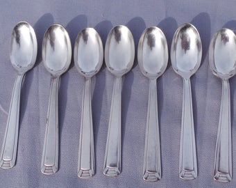 Vintage French Bundle of 7 Silver Plated 'Metaille Blanc' Tea /Coffee Spoons - Real Luxury - Stamped Metalle Blanc and 18 Good Quality