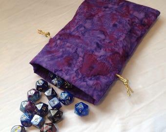 Lined purple batik dice bag