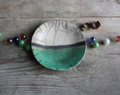 Ceramic plate raku white, green and black crackle handmade for home, kitchen, bathroom, living room