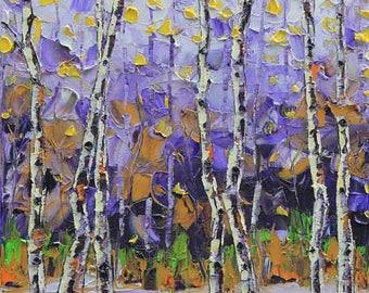 Birch Tree Painting, Palette Knife Art, Autumn Decor, Fall Painting, Aspen Trees, California Landscape, Original Oil, Award Winning Artist