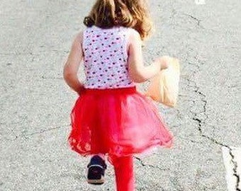Girls Play Dress - Cherry Tank Top - Tulle Skirt - Red Girls Dress - Kids Princess Dress