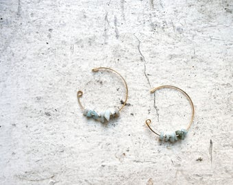 pale blue-green aventurine hoop earrings