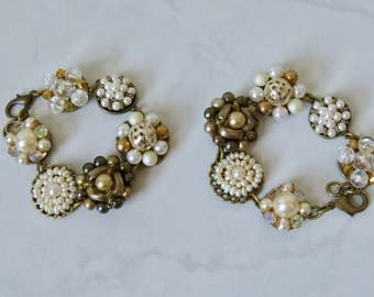 Cream Gold Cluster Bracelet Hand Crafted Repurposed Vintage Cluster Earrings to a Bracelet Cream Gold