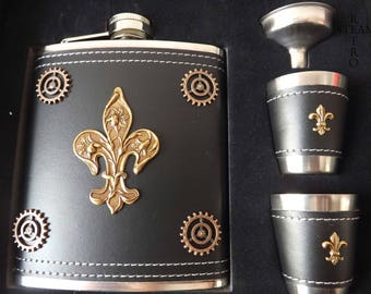 Steampunk flask and cup set - mens steampunk gift - fleur de lys  flask - kraken flask - lys flask - steampunk flask - steampunk - mens gift