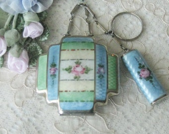 Antique / Older Vintage Hand Painted and Guilloche Enamel Tango or Dance Compact with Finger Ring and Lipstick - Sterling Silver