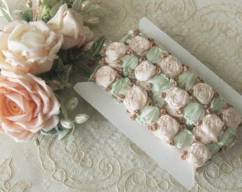 Beautiful Ribbonwork Trim - Beaitful Embroided Silk Ribbon Roses in Pastel Colors - Crafts, Sewing, Costumes, Crazy Quilt - Sold by the Yard