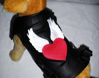 Red Winged Heart Patch on Black Leather Pet Biker Vest W/ Satin Lining. Zipper Velcro Closure