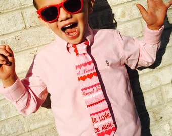 VALENTINE Infant Toddler Youth Red, Pink pre-tied Valentine Necktie
