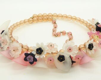 Pink, White and Black Lucite Flowers and Pink Glass Beads Necklace