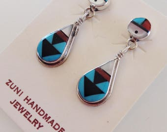 Zuni Turquoise Coral Jet MOP Sunface Sterling Silver Post Dangle Earrings Signed Clifton Cheama