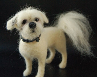 Custom Miniature Needle Felted Dog - Pet Portrait Sculpture