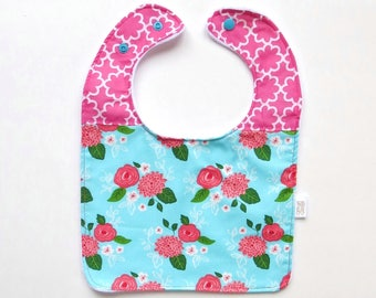 Floral Baby Bib | Chic Floral Bib | Baby Girl Bib | Girl Feeding Bib | Large Bib | Handmade Bib | New Baby Gift | Baby Girl Gift