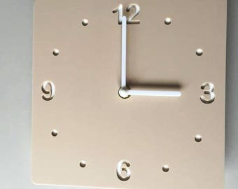 Rounded Corner Square Beige & White Clock - White Acrylic Back, Mat Finish Acrylic with White hands, Silent Sweep Movement