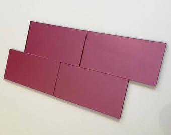 "Pink Mirrored Acrylic Rectangle Mosaic Wall Tiles, Sizes: 1cm to 25cm -  1"" to 10"""
