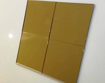 "Gold Mirrored Acrylic Square Crafting Mosaic & Wall Tiles, Sizes: 1cm to 20cm - 1"" to 7.9"""