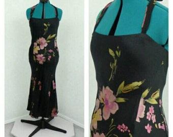Vintage 90s Black Silk Dress, Floral Dress, Maxi Dress, Mermaid Dress, Evening Gown, Long Formal Dress, Bias Cut Dress, Halter Dress