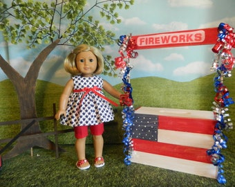 """doll clothes for 18"""" American Girl doll. AG Doll shorts and top, 4th of July doll clothes for American Girl, 18 inch doll clothes, patriotic"""