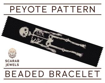 Skeleton Pattern | Peyote Beading Bracelet | Cuff Bead Pattern | Miyuki Delica | PDF Instant Download
