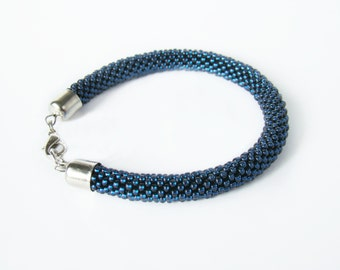 Thin blue line bracelet Seed glass bead crochet bracelet Navy blue naval bracelet Crochet bead rope bracelet Anklet Beadwork jewelry Bangle