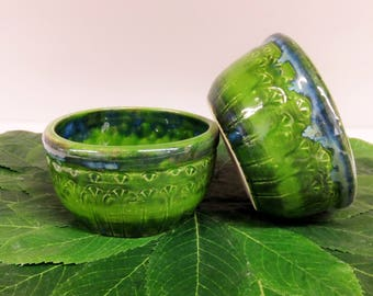 Green Blue Carved Bowl Set, Handmade Stoneware Pottery Bowls