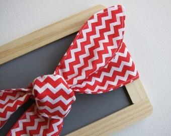 Hair Scarf - Bandana - Headband - Red Chevron - Rockabilly - Vintage Inspired - Retro - Skinny - Bow tie on