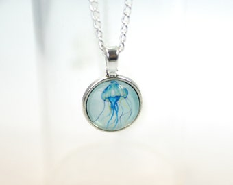"""Glass necklace round """"Atlantis jellyfish, silver colored"""