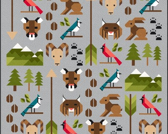 Forest Friends 2 Quilt Pattern, PDF, Instant Download, forest animal, cougar, lynx, goat, bunny rabbit, cardinal, blue jay, woodland, hunter
