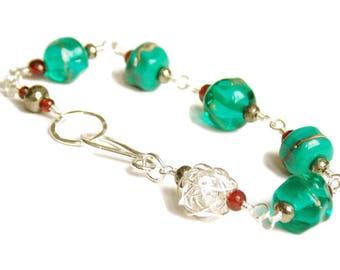 Luxe Sea Green Artisan Lampwork Bracelet. Gemstone Bracelet. Boho Luxe Jewelry