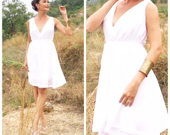 White chiffon V neck short dress all size