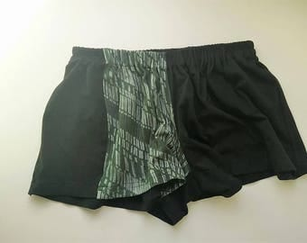 Recycled Fashion Size M /8 US women short/black with green/elastic fabric/summer/sleeping/festival/home shorts Eco/slow/Responsible fashion