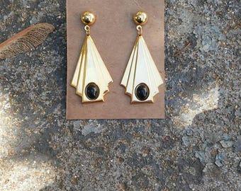 80s Art Deco Dangle Earrings