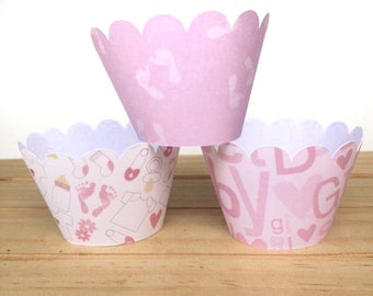 Baby Girl Cupcake wrappers - Set of 12 - Baby Shower, Dessert Table, Table decor, Pink cupcakes, Gender reveal, Food wrappers, Shower decor