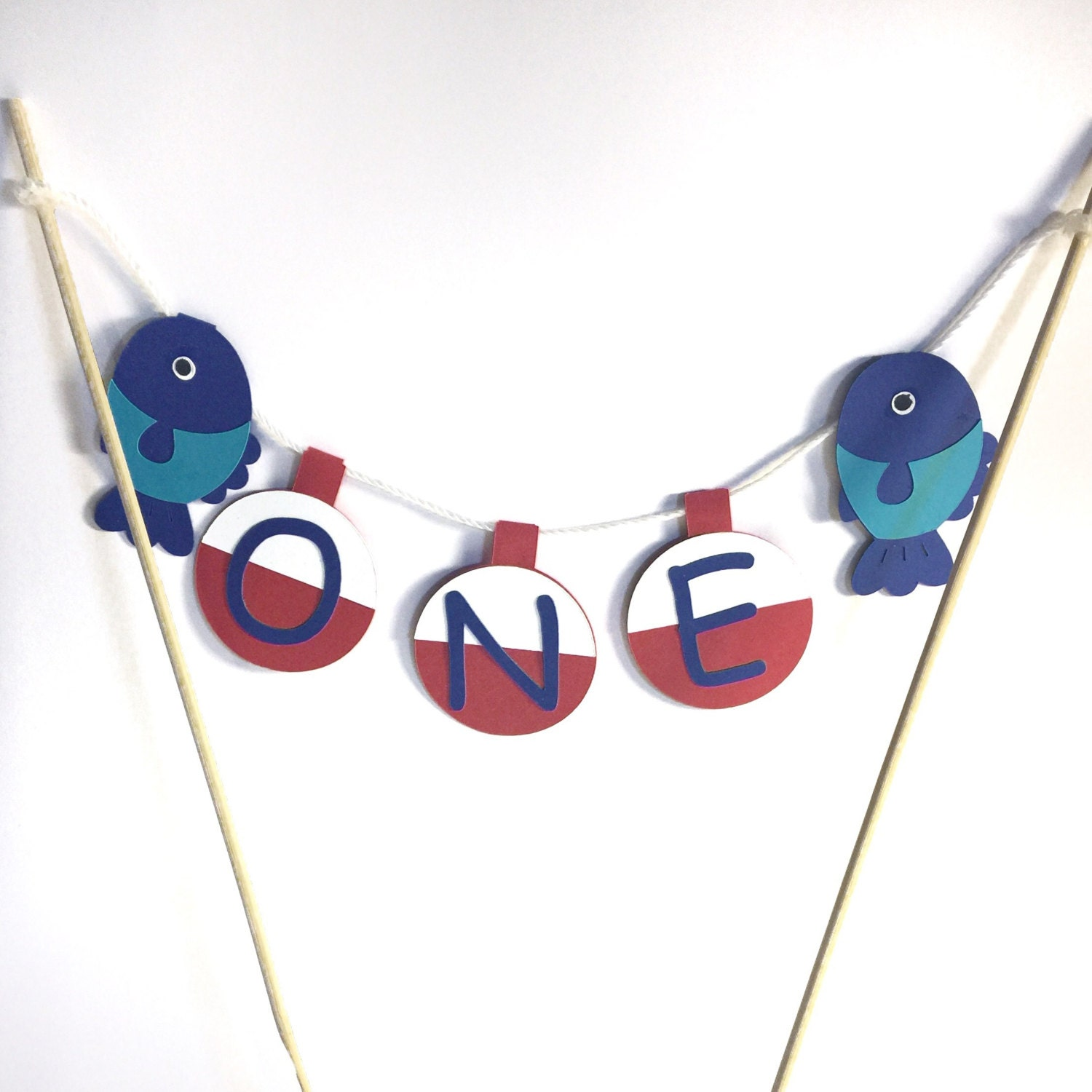 First birthday cake topper fish and bobber cake decor for Fishing first birthday
