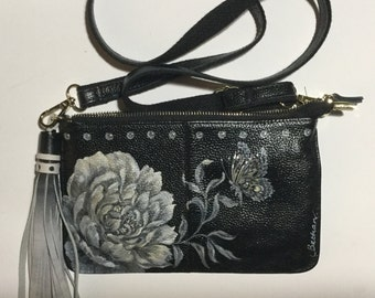 Handpainted black Cross body bag with white and gold peony ,tassel