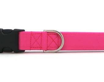 Solid Fuchsia Dog Collar (Martingale, Buckle or Tag)