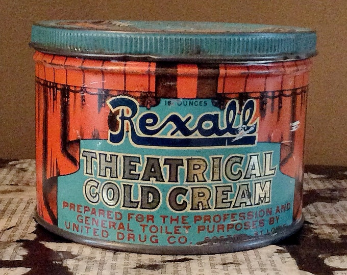 Featured listing image: RARE Antique Rexall ADVERTISING Theatrical Cold Cream TIN with Lid Vintage